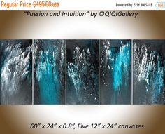 """❘❘❙❙❚❚ ON SALE ❚❚❙❙❘❘     ***Title: Passion and Intuition  ***SIZE: 5 x 12 x 24 x 0.8 (total size: 60"""" x 24"""" x 0.8)  ***THEME: Abstract."""