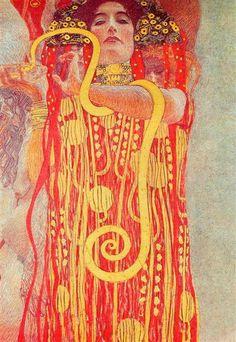 University of Vienna Ceiling Paintings (Medicine), detail showing Hygieia, 1900 - 1907 - Gustav Klimt
