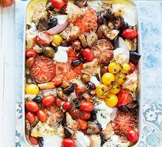 Celebrate tomatoes in all their different colours and sizes with this vibrant summer traybake. With mozzarella and ricotta, it's packed with flavour Bbc Good Food Recipes, Vegetarian Recipes, Healthy Recipes, Salmon Green Beans, Chicken And Chips, Bbc Good Food Show, Tray Bake Recipes, Summer Tomato, Summer Dishes