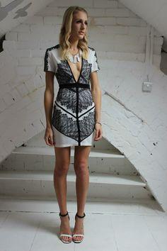 Adelais v-neck bodycon mini dress with eyelash lace