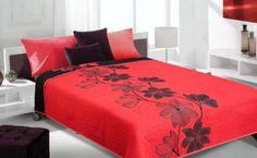 Czerwona narzuta dwustronna w czarne kwiaty
