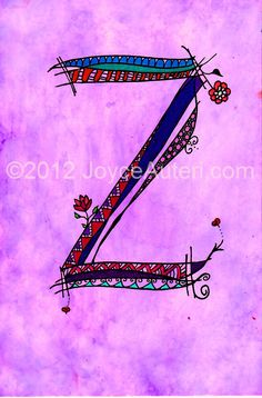'Z' 4x6 print on high quality paper, embellished with glitter, matted & framed to 5x7, ready to hang or display on shelf: $35