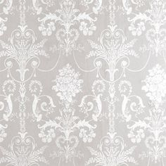 A French toile inspired damask design perfect for all interiors including well ventilated kitchens and bathrooms. White and Dove Grey colors