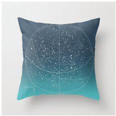DIY OMBRE Summer Stars, vintage celestial chart pillow KIT, made to order, 16x16 envelope style. $35.00, via Etsy.