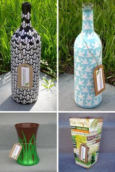 Upcycled glass bottles and vases