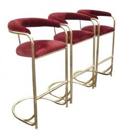 Set of 3 Vintage Brass Bar Stools by Shelby WIlliams | From a unique collection of antique and modern stools at