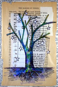 Winter tree.  Collage, vintage paper, hanging stars.
