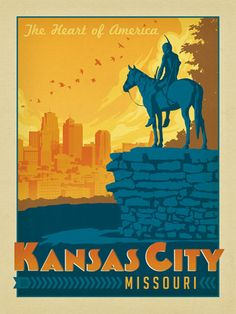 """national parks. Founder Joel Anderson directs a team of talented Nashville-based artists to keep the collection growing. This print celebrates the beauty of downtown Kansas City. Printed on heavy gallery-grade matte finished paper, this print will fit  any standard 18"""" x 24"""" frame and look great on any home or office wall."""