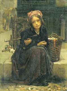 The Ribbon Seller/Guillaume Charles Brun (1825 – 1908, French) Life for many children...is NOT idyllic and sweet memories. Sad, sad, sad...
