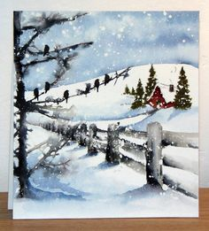 26 Lovely Christmas Wood Signs to Create a Unique Holiday Look - The Trending House Watercolor Christmas Cards, Watercolor Cards, Watercolor Paintings, Watercolors, Watercolor Print, Penny Black Karten, Penny Black Cards, Winter Painting, Winter Art