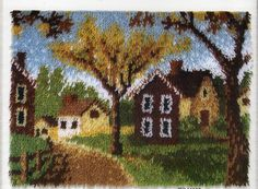 COUNTRY COTTAGES Latch Hook Rug Kit, Brand New