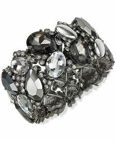 Alfani Hematite-Tone Black Stone Stretch Bracelet