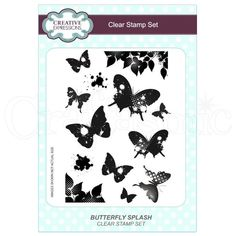 Creative Expressions Stamp Set by Lisa Horton - Butterfly Splash Art And Hobby, Clear Stamps, Craft Supplies, Decoupage, Christmas Crafts, Butterfly, Creative, Lisa, Bowties