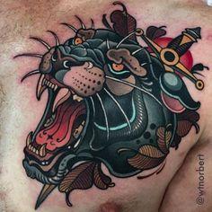 Thanks Grant! Chicanas Tattoo, Tiger Tattoo, Body Art Tattoos, Hand Tattoos, Sleeve Tattoos, Flash Tattoos, Gold Tattoo, Traditional Panther Tattoo, Traditional Tattoo Flash