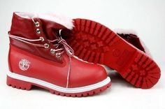Timberland Roll Top Womens Boots Red With Pink Fur  $85.90