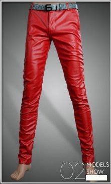High Quality Autumn Tight Faux PU Leather Pants Men Solid Slim Fit Skinny Men Trousers (Asian Size) Autumn
