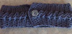 "Crochet women's cable stitch ear warmer. Dark gray ""I love this cotton"" yarn from hobby lobby."