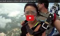 Near death airplane collision with skydiver in free fall What are the odds? Apparently, the uploader of this vid said there were two more incidents like this – and one wasn't as lucky as he was with his tandem passenger on this day when they came deathly close to an airplane during a skydiving free fall…