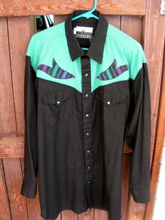 Vintage Pearl Snap Western Shirt / Cowboy Country Western / Teal and Black Rockabilly Shirt