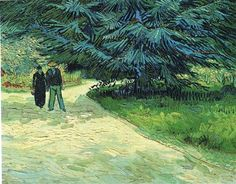Public Garden with Couple and Blue Fir Tree (The Poet s Garden III) - Vincent van Gogh