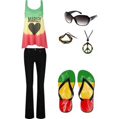 just created this rasta outfit on polyvore