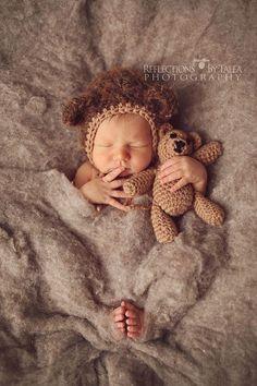Newborn Bear Hat and Teddy Bear Set - Newborn Photo Prop, Bear Bonnet, Crochet Teddy Bear