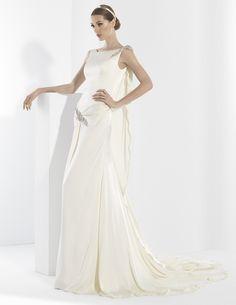 Vestidos de novia con escote de barco delantero y amplio