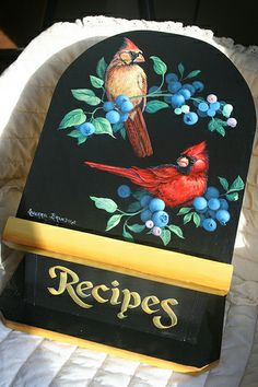 HAND PAINTED CARDINALS IN BLUEBERRIES RECIPE BOX | Flickr - Photo Sharing!