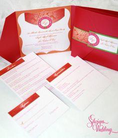 Gorgeous Vibrant Pattern Indian Wedding Invitation by SDezigns