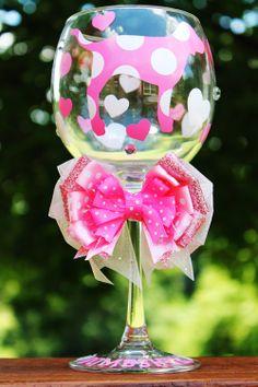 Victoria's Secret Love Pink Dog Wine Glass