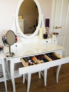 Furniture, Glass Top Vanity Table With Wooden Base Painted With White Color And Drawer For Makeup Storage Built In With Oval Mirror Beside Door Ideas ~ Glass Vanity Table