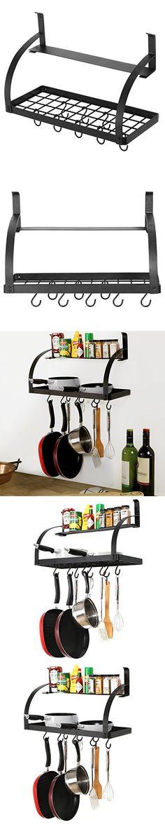2 Tier Wall Mounted Metal Grid Kitchen 8 Hanging Pots & Pan Hooks, Spice Rack Storage Shelf