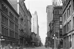 King Street East, looking west towards Yonge Street. The John Catto and Son store and the King Edward Hotel are visible on the left. Canadian History, American History, Bedford Park, Yonge Street, University Of Toronto, Lake Superior, Great Pictures, Aerial View, Ontario