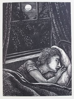 """Reynolds Stone (English, 1909-1979). From Ralph Hodgson's """"The Skylark,"""" published by Colin Fenton and the Curwen Press, 1958. (wood engraving)"""