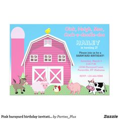 """Pink barnyard birthday invitation 