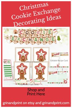 Do you need some Cookie Exchange party ideas? At Grinandprint on Etsy we have everything printable and waiting for your next Holiday Cookie Swap. A Christmas Cookie Exchange Party would be fun for the whole Family and why not decorate with Tags, Ballots, Banners and more.  #cookieexchange #cookieexchangeparty #partyideas #christmas #familyactivities #cookies Kids Party Tables, Party Favors For Kids Birthday, Cookie Exchange Party, Christmas Cookie Exchange, Holiday Invitations, Printable Invitations, Printables, Christmas Activities For Kids, Christmas Games