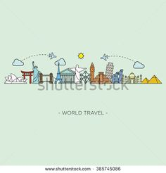 Travel and tourism skyline line style. Vector illustration - stock vector