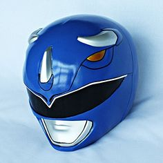 Halloween Costume Cosplay Mighty Morphin Power Ranger Helmet Mask Blue This mask is suit for halloween costume and cosplay.