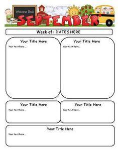 Newsletters Through the Year!- {Editable Newsletters for Each Month} Class Newsletter, Preschool Newsletter, Classroom Newsletter Template, Newsletter Templates, Newsletter Ideas, Everything Preschool, September Activities, School Forms, Teachers Toolbox
