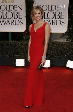 Stacy Keibler - Valentino red dress @ the Golden Globes