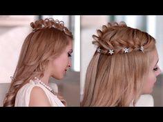 ▶ Princess/fairy/goddess hair tutorial for Halloween: braided halo / crown hairstyle - YouTube
