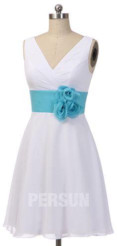 robe demoiselle d'honneur simple bicolore décolleté en v taille ornée de fleurs fait-main