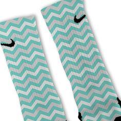 Fresh Elites Customized Nike Elite Socks - Chevron Tiffany Blue