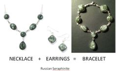 Seraphinite (Russia): I was having trouble keeping the necklace centered. Guess I'm more of a pendant and chain girl. I snagged some greatly reduced price earrings from The Lounge at Gemporia.com, combining both into an excellent bracelet.