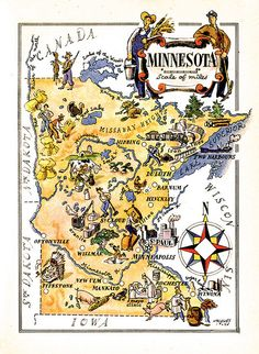 old map of Minnesota, a pictorial map by Jacques Liozu, this is a good source for high quality printable vintage maps and illustrations Minnesota Home, Minnesota Vikings, Minnesota Funny, Minnesota Twins, Vintage Maps, Vintage Posters, Vintage Travel, Vintage Signs, Maps Posters