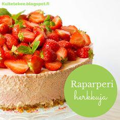 Juhannuksen hitti on tämä helppo ja herkullinen Raparperi -mansikkajuustokakku. Kakkua ei tarvitse paistaa, joten sen tekeminen onnistuu vaikka mökillä.
