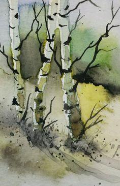 Jim Lagasse ACEO Original Watercolor Painting - by Watercolorist Jim Lagasse Watercolor Landscape Paintings, Watercolor Pictures, Watercolor Trees, Watercolor Sketch, Abstract Watercolor, Evans Art, Birch Tree Art, Watercolor Techniques, Images