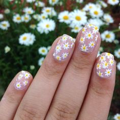 Air nails, Cheerful nails, Daisy nails, flower nail art, Manicure by summer dress, positive nails, Summer nail art , Summer nails 2017