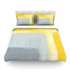 "CarolLynn Tice ""Inspired"" Grey Yellow Featherweight Duvet Cover - KESS InHouse  - 1"