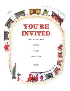 Train party invitations (free printable)
